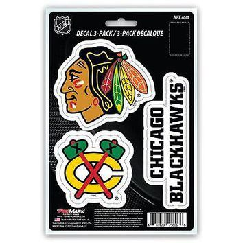 Chicago Blackhawks Auto Decal NHL Car Sticker Pack of 3