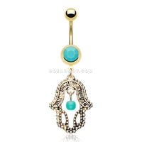 Golden Turquoise Hamsa Belly Button Ring (Turquoise)