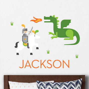 Knight and Dragon Wall Decal (Personalized)