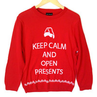 Alex Stevens Keep Calm and Open Presents Ugly Christmas Sweater
