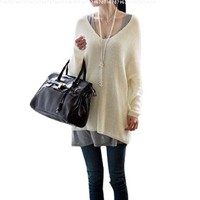 Women Stretch Long Sleeve Scoop Neck Knit Tunic Top Off White L