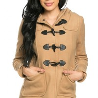 Hooded Long Sleeve Toggle Coat in Camel