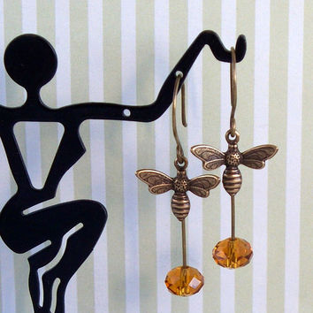Honey Drops - Oxidized Brass Bee And Glass Bead Earrings
