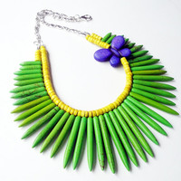 Green Yellow Sticks With Purple Butterfly  Turquoise Beaded Necklace,Spikes Bohemian- Maui-  2 Layers Green Spike Necklace/Statement Jewelr