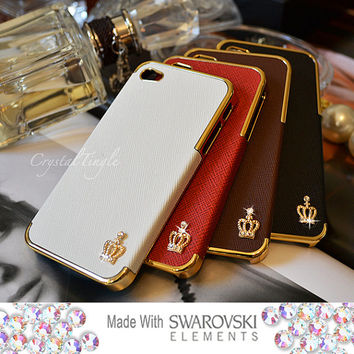 New iPhone 5 5S or 4S Sparkle Crown Design Luxury Designer Inspired White Red Brown Black Leather Hard Case Made w/ Swarovski Crystals
