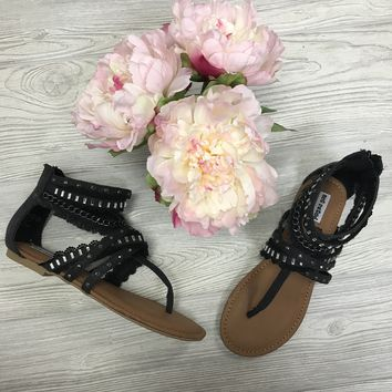 Bling and Chains Black Sandals