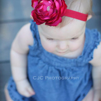 Geneva Flower Headband - All ages - Newborn Photography prop - Vintage couture feather headband