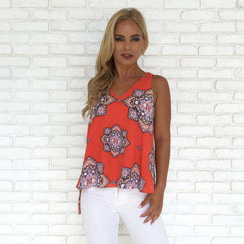 Coral Crush Medallion Print Top