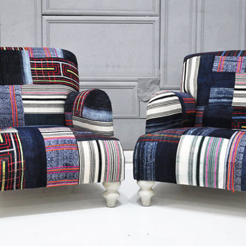 2 x patchwork armchairs