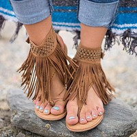 Bohemian fringe flat thong sandals with ankle wrap