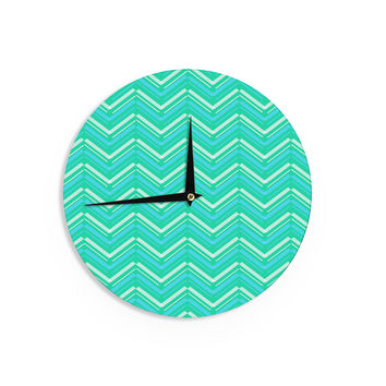 "CarolLynn Tice ""Symetrical"" Teal Turquoise Wall Clock"