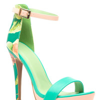 Sea Green Floral Print Faux Leather Ankle Strap Platform Heels
