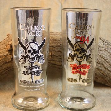 Drinking Glass Upcycled from Calico Jack Rum Bottle, Upcycled Calico Jack, Recycled Drinking Glass, Barware, Recycled Liquor Bottle