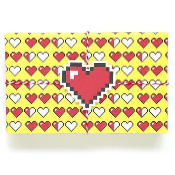 8 Bit Heart Wrapping Paper