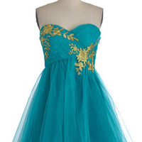 Garden Cotillion Dress in Teal