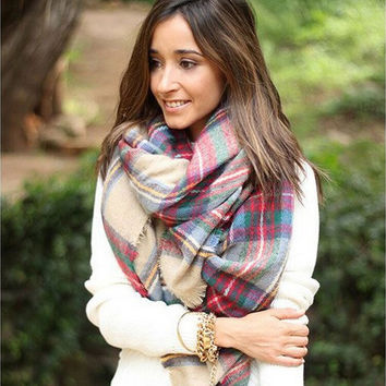 Z Winter Tartan Thickened Scarf  Plaid Scarf cuadros New Designer Shawls Women's Imitation Cashmere Scarves 140*140cm