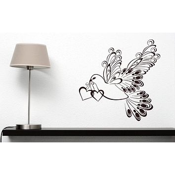 Vinyl Decal Decor for Living Room Wall Sticker White Dove Symbol Peace Love Happiness Unique Gift (n407)