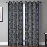 Bandhini Graphic Print and Text Sheer Grommet Curtain Panels