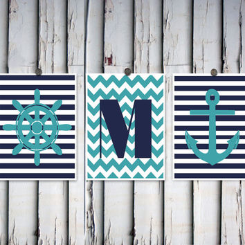 Custom nautical decor Navy and teal Surname initial art Personalized gift Family name art Anchor decor Ships wheel poster Modern wall decor
