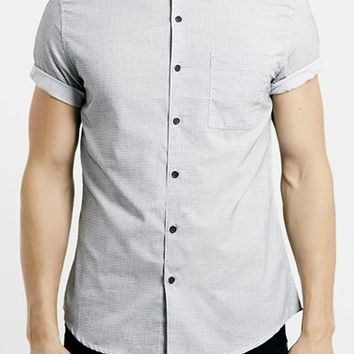 Men's Topman Slim Fit Short Sleeve Grey Texture Shirt