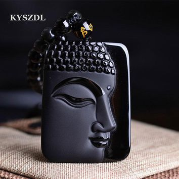 KYSZDL  Natural Obsidian Stone top fashion crystal pendant Buddha Buddha Head necklace Pendant gift for men and women