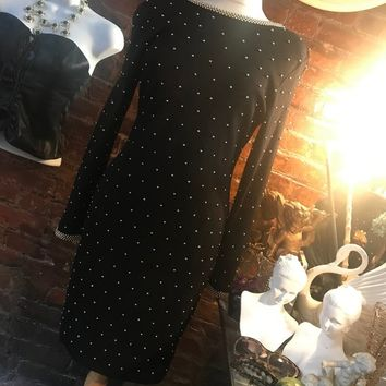 Gorgeous Deep V Back Plunge Studded Black Knit Awesome 80s Glam Cocktail Party Dress size M MINT