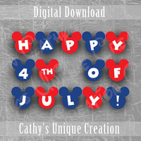 Happy 4th of July Mickey Mouse Banner, Independence Day Disney Decoration, Red White and Blue, BBQ Party, Printable DIY Download, Letter, A4