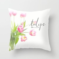 Pink tulips Throw Pillow by Sylvia Cook Photography