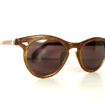 1950s Glitter Cat Eye Sunglasses, 50s Topaz Brown Cateye Glasses Amber Lenses, Rockabilly Cateyes 1950s Vintage