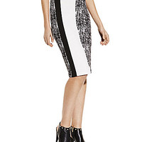Vince Camuto Texture Etched Pencil Skirt - Rich Black