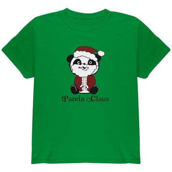 CREYCY8 Christmas Panda Santa Claus Cute Youth T Shirt