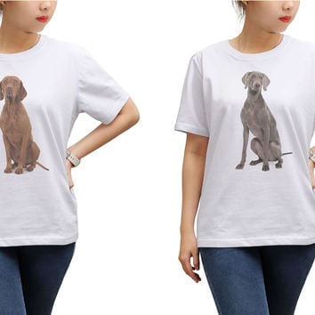 Women Dogs Printed Round Neck Short Sleeves T- Shirt WTS_17