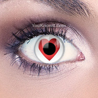 Red Contact Lenses | Funky Eyes Heart Contact Lenses