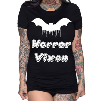 HORROR VIXEN FITTED TOP creepy Bat