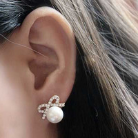 Bow Pearl Earrings  from Her Vanity Affair