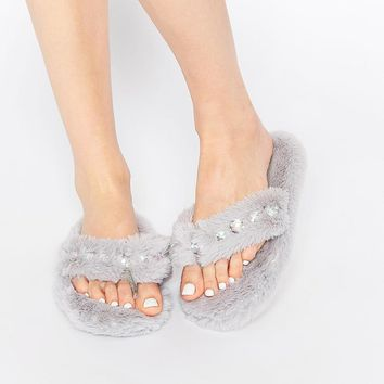 New Look | New Look Faux Fur Embellished Slipper at ASOS
