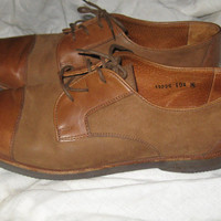 VINTAGE  Bruno Magli 2 tone brown  leather and suede      Italian Oxfords Lace-up Dress Shoes sz 10  1/2 m