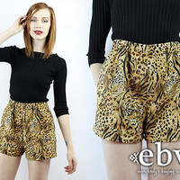 Vintage 80s High Waisted Cheetah Shorts XS S High Waisted Shorts High Waist Shorts Leopard Shorts Tiger Shorts Animal Print Shorts Hipster