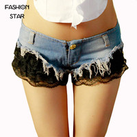 1 Piece Summer Leather Plus Size Lace Jeans Button Low Waist Nightclub Bar Sexy Shorts Lady Trousers/Cotton Sexy Short Pants