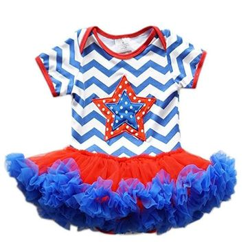 Baby Girls Patriotic Chevron Star Tulle One Piece Dress Red White Blue