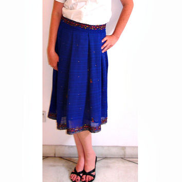 Pleated Skirt: Indian Sari Skirt, Aline Skirt, Knee Length Cobalt Blue Beaded Saree Plaid Midi Skirt