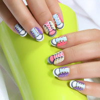 24 PCS Multicolor Canvas Shoe Pattern Nail Art