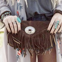 Leather Fringed Concho Clutch - Brown