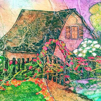 Fairytale COTTAGE Flower GARDEN Original Painting ZEN Inspired Floral Rose Arbor Watercolor On Tissue Lynne French Free Shipping