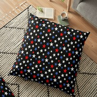'Bold Patriotic Stars In Red White and Blue on Black' Floor Pillow by taiche