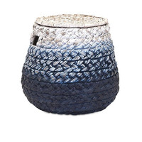 Ombre Blue Woven Water Hyacinth Basket & Lid