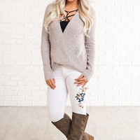 Chanelle Wrap Front Sweater (Blush)