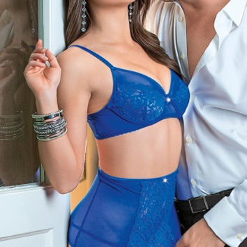 Royal Blue Mesh and Lace Bra Set with Thigh Highs