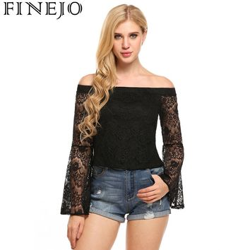 FINEJO 2017 Sexy Women t Shirts Stretch Floral Lace Off-shoulder Flare Long Sleeve Tops Slim Fit Simple Tops Camisetas Black