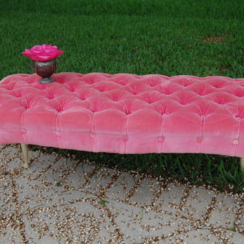Vintage Shabby Chic French Tufted Pink Bench Stool SUMMER SALE  Hollywood Regency Cottage Style at Retro Daisy Girl